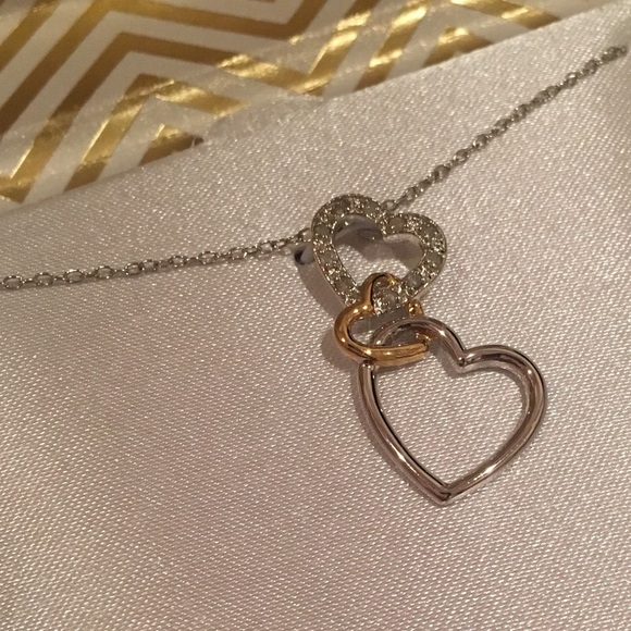 a9c841e88af Macy's Jewelry   18k Gold Sterling Silver Diamond Heart Necklace ...